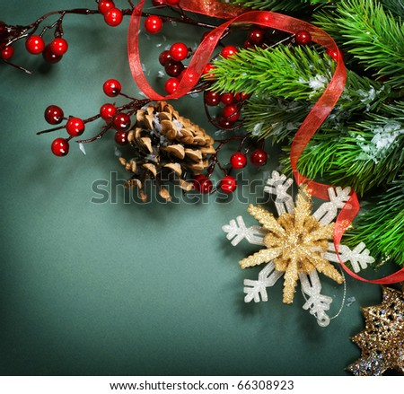 Christmas Decorations border design - stock photo