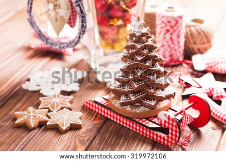Christmas decorations. Christmas tree from gingerbread cookies - stock photo
