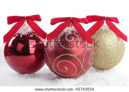 Christmas decorations closeup over white - stock photo
