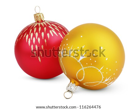 Christmas decorations - colorful balls isolated on white with clipping path - stock photo