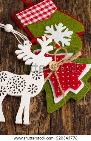 Christmas decorations from wood and felt