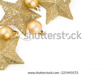Christmas decorations gold balls and stars