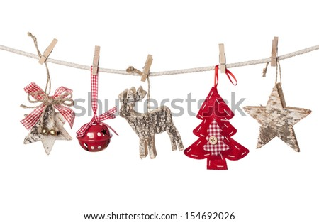 Christmas decorations hanging isolated on white background