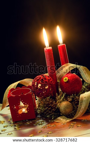 Christmas decorations in a traditional holiday still-life composition - stock photo