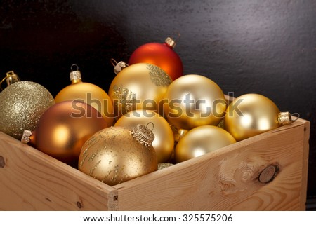 Christmas decorations in a wooden box
