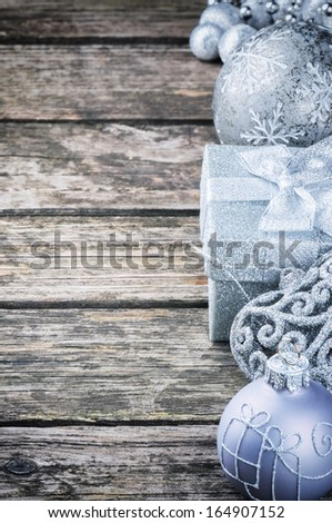 Christmas decorations in silver tone  - stock photo