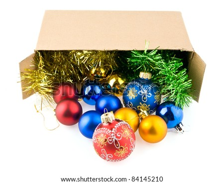 christmas decorations in the box on the white background - stock photo