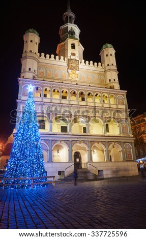 Christmas decorations in the Old Market Square in Poznan by night
