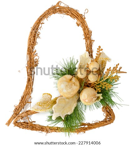 Christmas decorations in the shape of a bell isolated on white background - stock photo