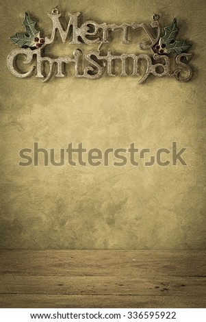 christmas decorations in vintage style for background
