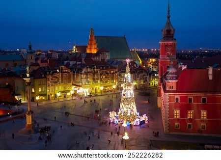 Christmas decorations in Warsaw, Poland. - stock photo