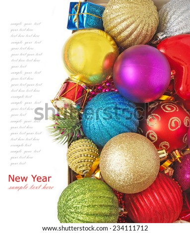 Christmas decorations isolated on white background with sample text - stock photo