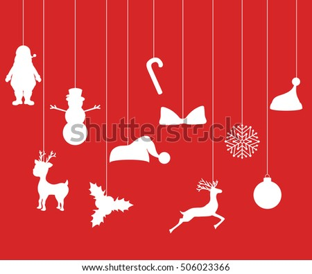 Christmas decorations of paper tape. Silhouette of decor elements for holiday