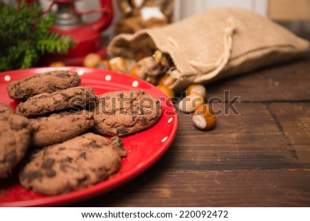 Christmas decorations on a wooden table