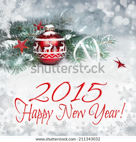 Christmas decorations on abstract winter background, Happy New Year 2015! - stock photo