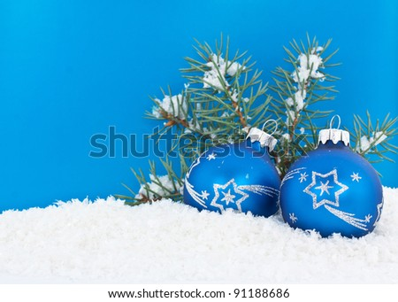 Christmas decorations on blue background - stock photo