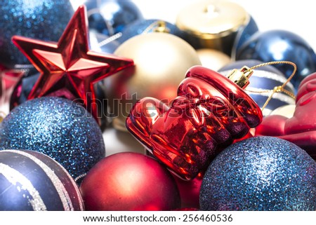 Christmas decorations on isolated background - stock photo