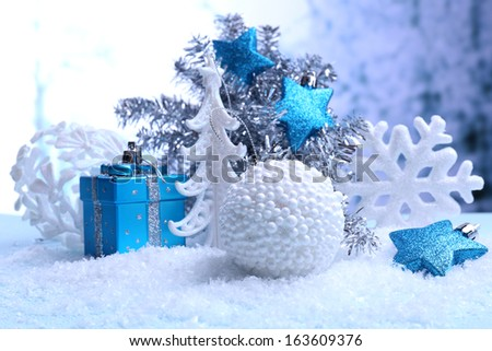 Christmas decorations on light background - stock photo
