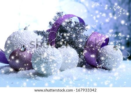 Christmas decorations on light background - stock photo