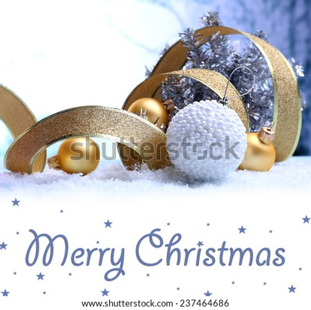 Christmas decorations on light background as greeting card - stock photo