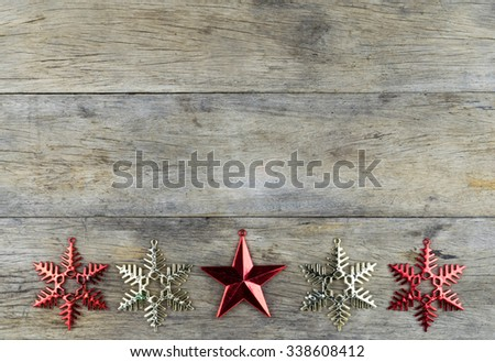Christmas decorations on old wooden background. with copy space,