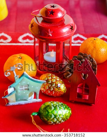 Christmas decorations on the table - stock photo