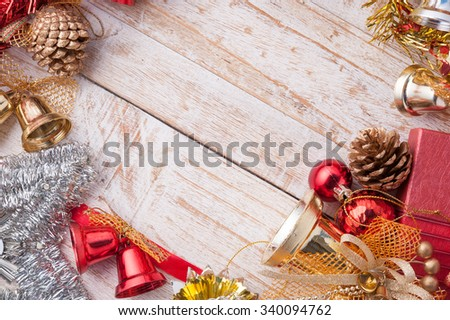 Christmas decorations on vintage white wood background.copy space - stock photo