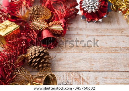 Christmas decorations on vintage white wood background.copy space