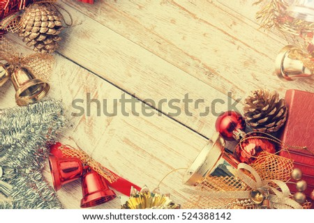 Christmas decorations on vintage white wood background.copy space and vintage tone