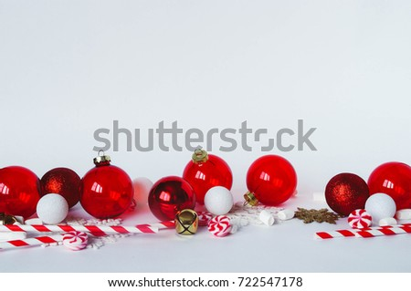 Christmas Decorations On White Background Transparent Red And Glitter Baubles Ornaments Peppermint Swirl Candy