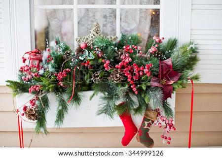 House Christmas Decoration Facade Stock Photos Images