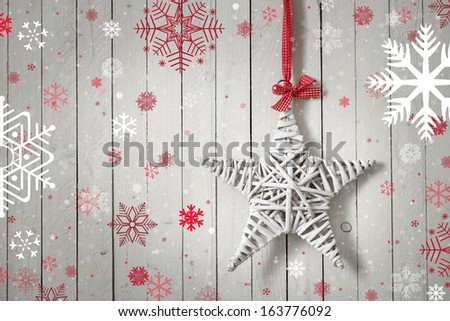 Christmas decorations on wooden rustic white background - stock photo