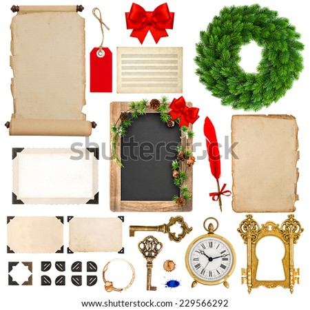 christmas decorations, ornaments and gifts. old book pages, paper, scroll, wreath, blackboard, corner and photo frame isolated on white background - stock photo
