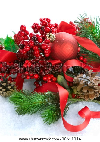 Christmas Decorations over white - stock photo