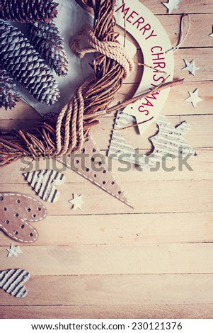 Christmas decorations over wooden background/vintage paper christmas card/ Home preparation for the holiday Christmas - stock photo