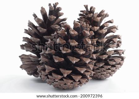 Christmas decorations  pinecones - stock photo
