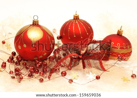 Christmas decorations, red baubles
