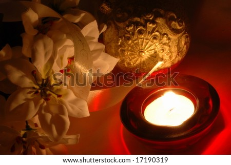 christmas decorations with a candle