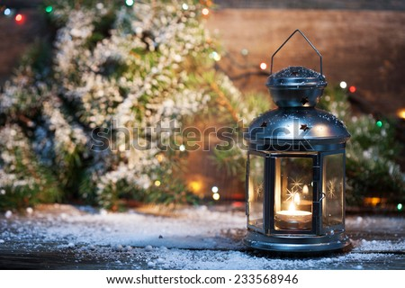 Christmas decorations with beautiful vintage lantern  - stock photo