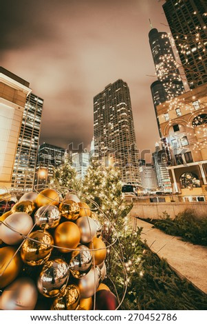 Christmas decorations with City lights and colors and snow