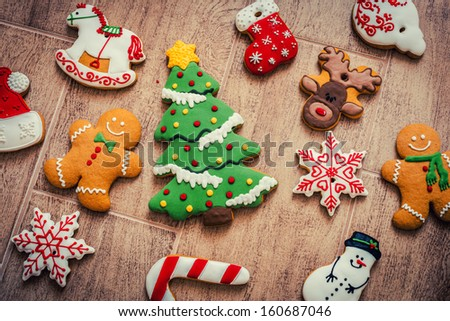 Christmas Decorations with Gingerbread  - stock photo