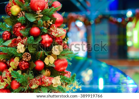 Christmas decorations with lights - stock photo
