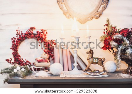 christmas decorations with vintage wooden horse - Horse Christmas Decorations