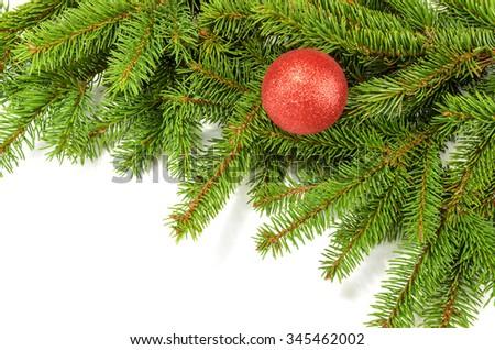 christmas decorative ball on the christmas tree - stock photo