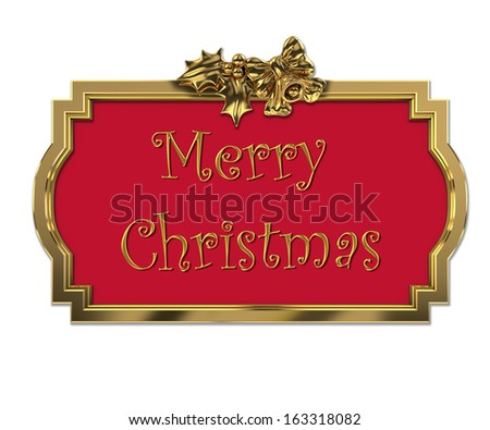 Christmas decorative golden 3D frame - stock photo