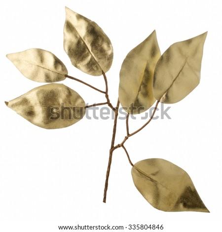 Christmas decorative golden leaves isolated on white background. - stock photo