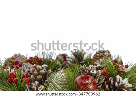 Christmas decorative wreath on a white background with copy space for additional messages - stock photo