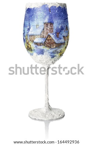 Christmas decoupage on the wine glass. Christmas decoration.