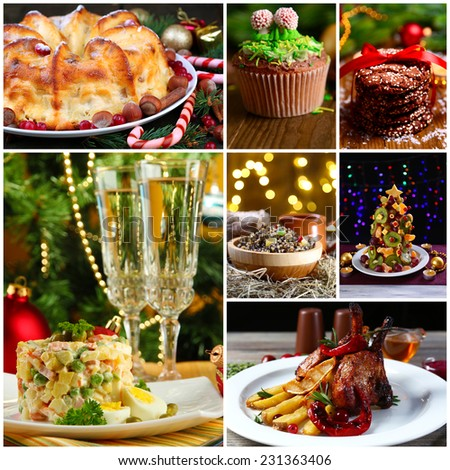Christmas delicious dishes collage - stock photo