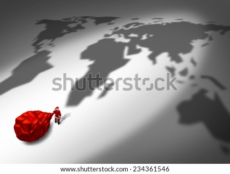 Christmas delivery and holiday shipping service concept as a santa clause character in a red costume holding a big red gift bag standing in front of a world map cast shadow. - stock photo